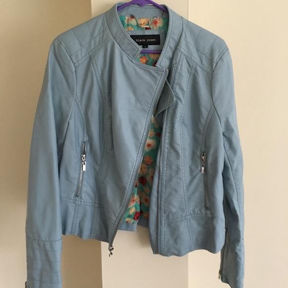 Black Rivet Jackets & Blazers - Blue faux leather jacket